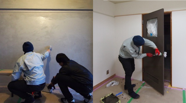 壁やドアを塗装する様子。
